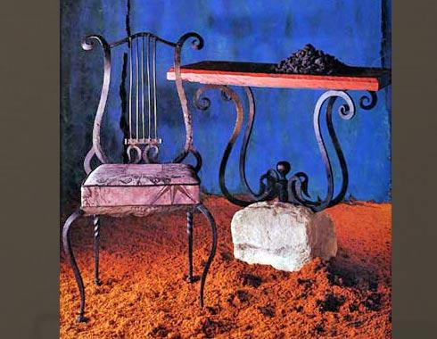 Lyre Chair and Lyre Console - Tables and Chairs - Wrought Artworks - Iron work Australia